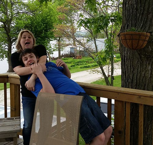 Kimberly and Xander goofing around