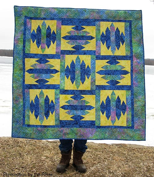 Blue Sapphire Quilt Pattern held by Builder Bob