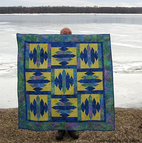 Blue Sapphire Quilt Pattern Builder Bob peeking behind it