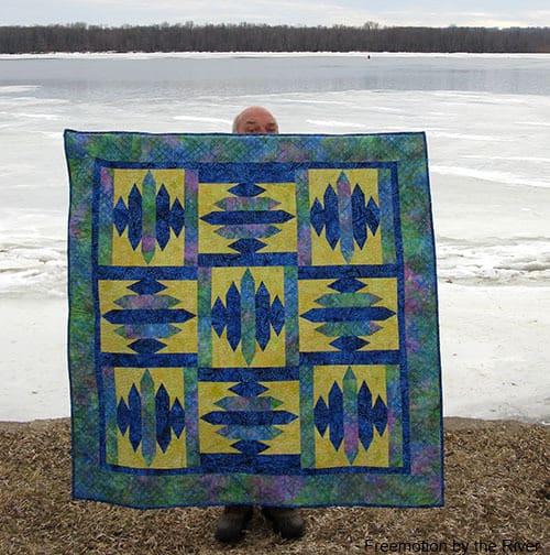 Blue Sapphire Quilt Pattern Builder Bob peeking behind it