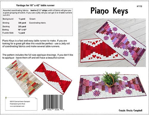 Piano Keys quilt pattern cover