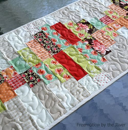 closeup of quilting Piano Keys tablerunner is a beautiful quilt pattern