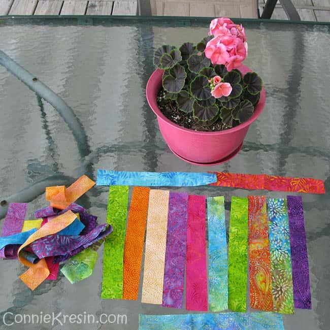 String Runner Batik Strips on table