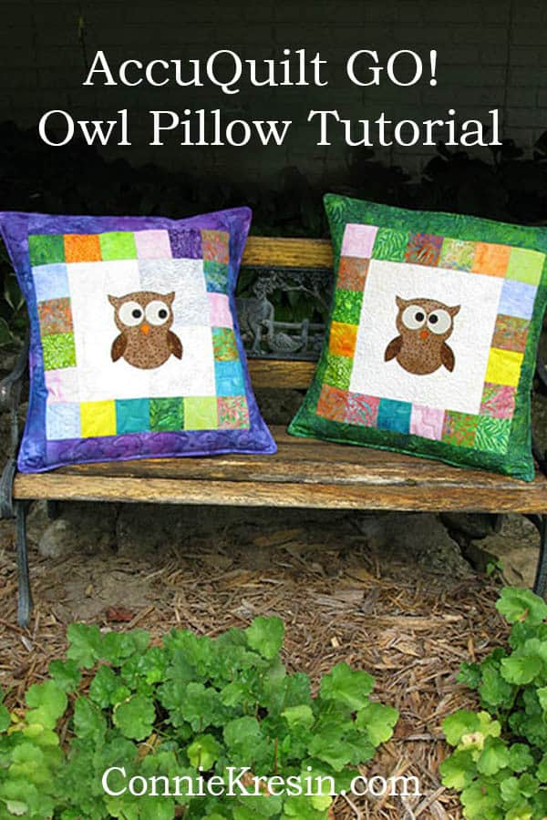 AccuQuilt GO! Owl die tutorial for cute patchwork pillows