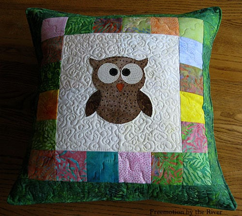 AccuQuilt Tree Owl Pillow tutorial pillow back finished