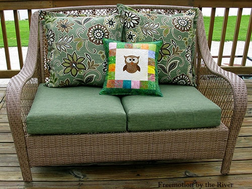 Owl pillow on couch