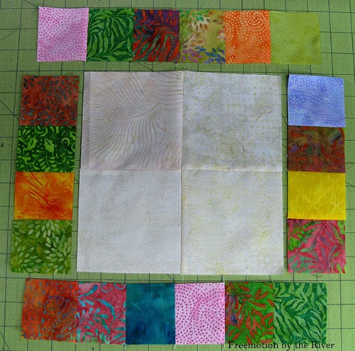 AccuQuilt Tree Owl Pillow tutorial cutting squares batiks sections
