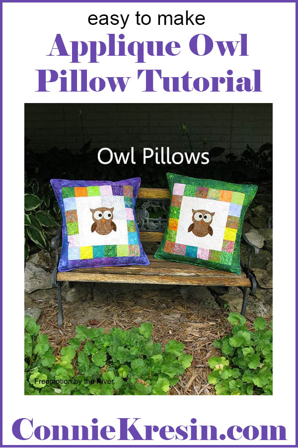 Two Applique Owl Pillows made with batiks easy to make