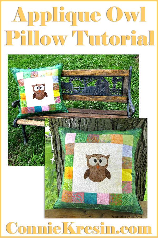 Applique Owl Pillow with batiks easy to make