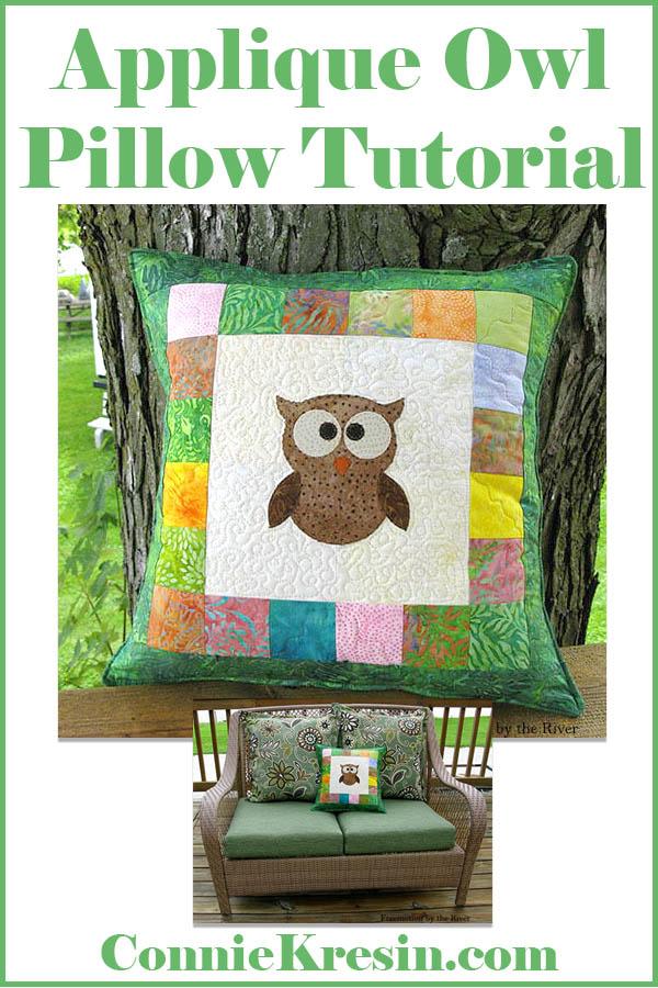 AccuQuilt Applique Tree Owl Pillow tutorial