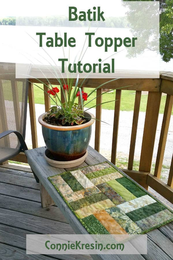 Batik Table Topper Tutorial is fast and easy to make using batik strips for a beautiful DIY accent piece for your table #quilting #tabletopper #centerpiece #batiks #tutorial #DIY