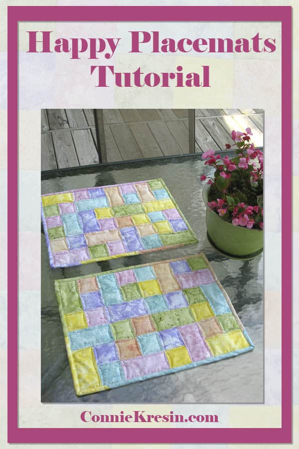 Happy Placemats fast and easy tutorial for 4 placemats