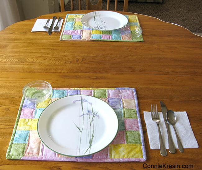 Happy place mats with flowers on kitchen table