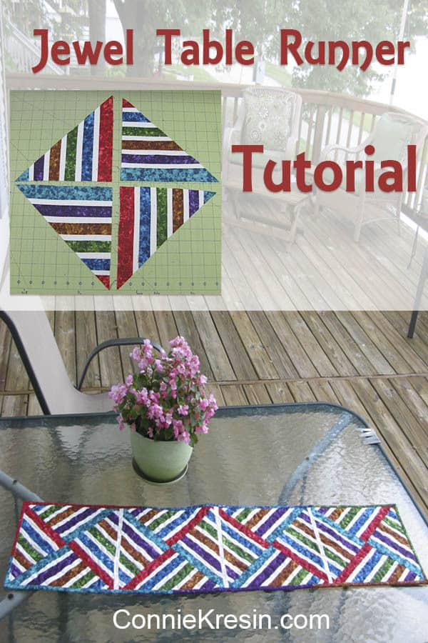 Bright Jewel Colors Tablerunner is fast and easy to make using the strip piecing quilt method