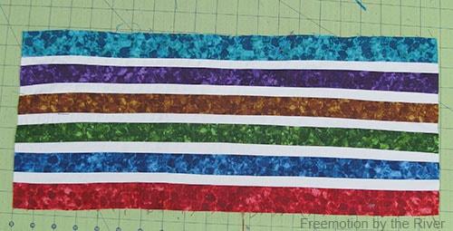 Bright Jewel Table Runner Tutorial fabrics sewed together