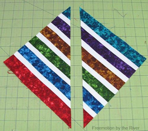Bright Jewel Table Runner Tutorial fabrics sewed together cut diagonally