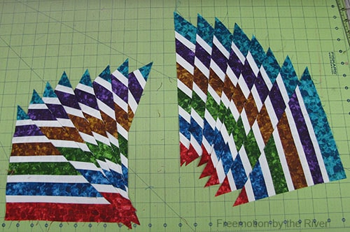 Bright Jewel Table Runner Tutorial fabrics sewed together cut diagonally