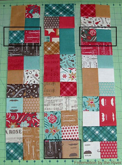 Lay out the blocks for the table runner