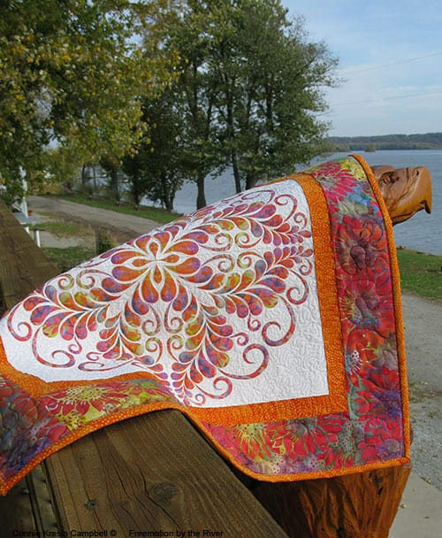 Feathered Kaleidoscope Quilted Wall Hanging