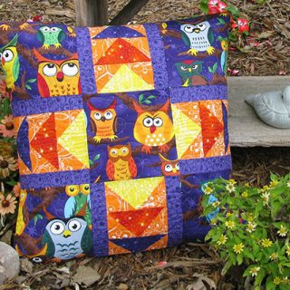 Nite Owls Quilted Pillow Tutorial