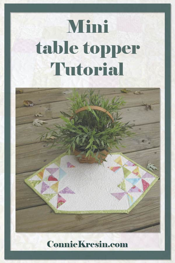 Fast and easy mini table topper to make from your leftover quilt blocks