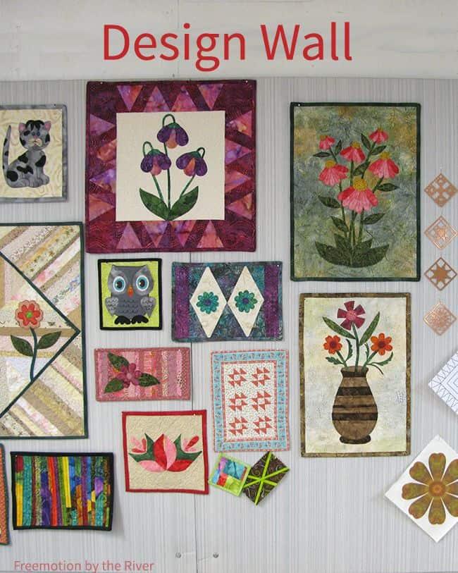 design wall in quilt studio