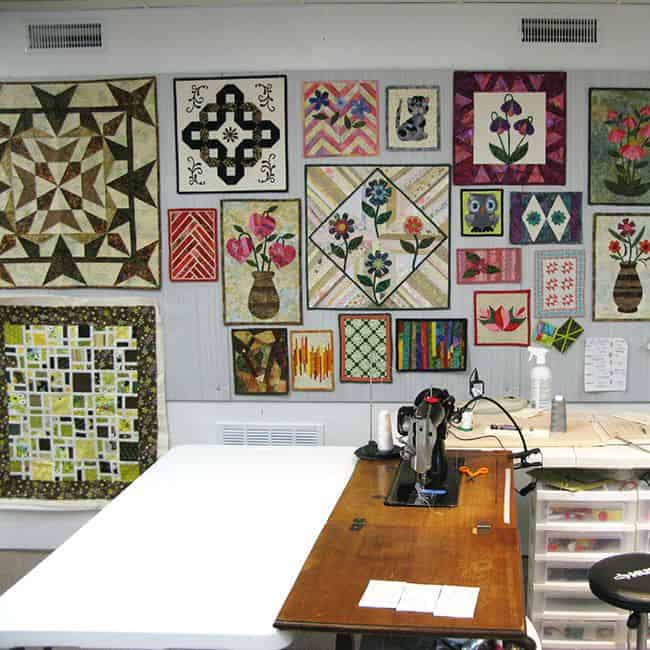 Design wall with quilts on it