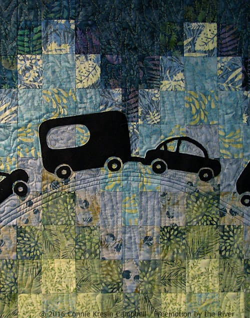 Close up of Caravan quilt made with Crystal Cove collection from Island Batik