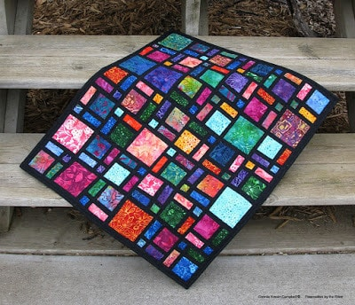 Mini Scattered Quilt In Batiks Freemotion By The River