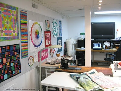 Quilt studio with design wall and a 8 foot desk