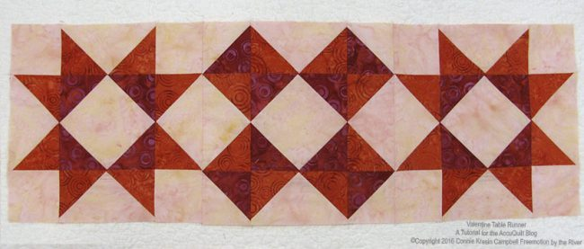 Valentine Table Runner batik quilt blocks