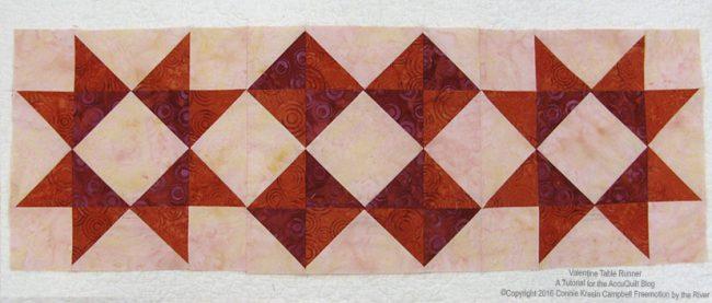 Valentine Table Runner batik quilt blocks