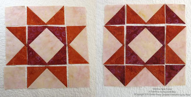 Piecing the batik quilt blocks