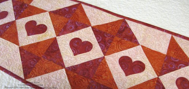 valentine tablerunner closeup