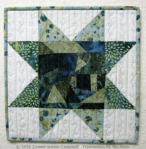 Quilted Improv Star block