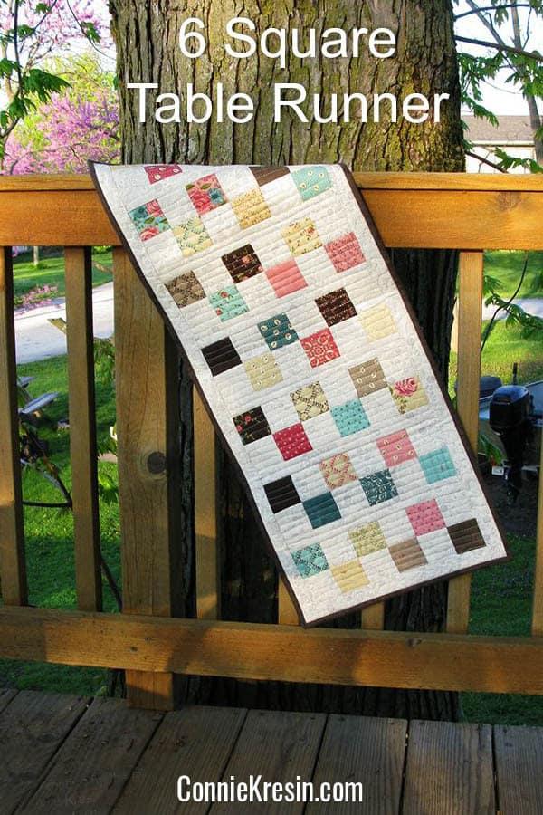6 Square block tablerunner tutorial free pattern