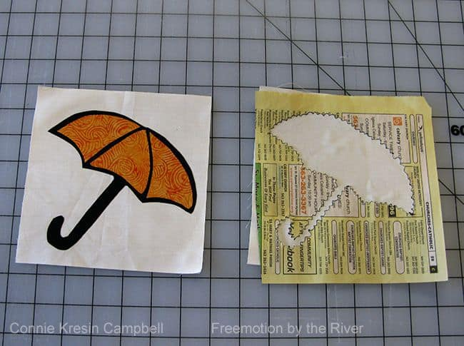Batik umbrella block appliqued