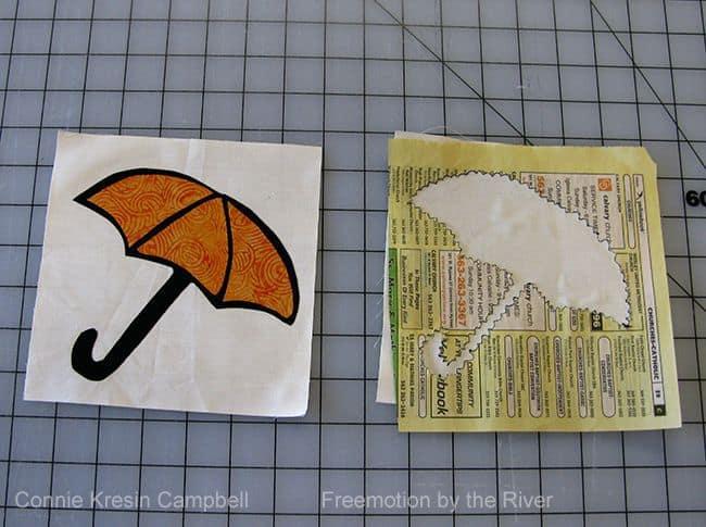 Batik umbrella block appliqued