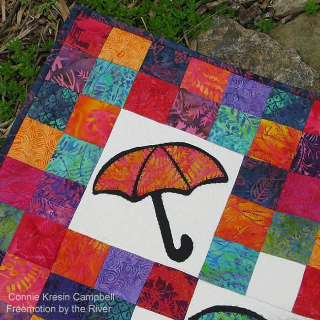 April Showers Umbrella quilt closeup