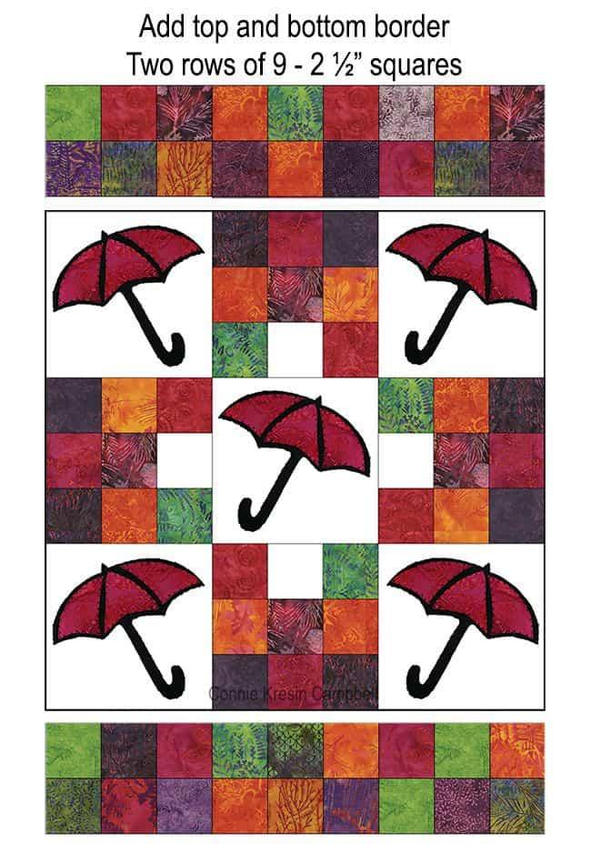 Batik Umbrella quilt top and bottom border sections