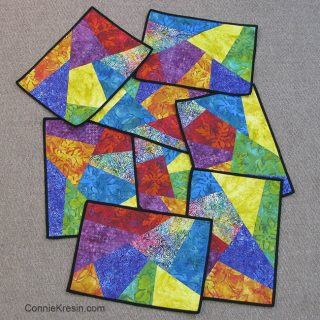 Colorful psychedelic placemats are fun to make backs of placemats set of eight