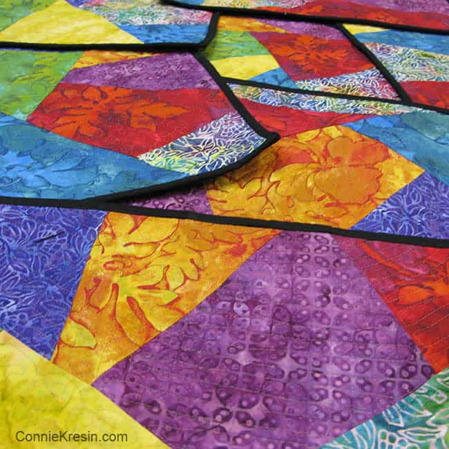 Colorful psychedelic placemats are fun to make with batiks