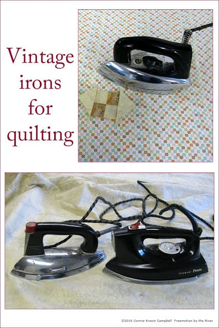Vintage or antique irons are great to use when quilting pick them up at Goodwill
