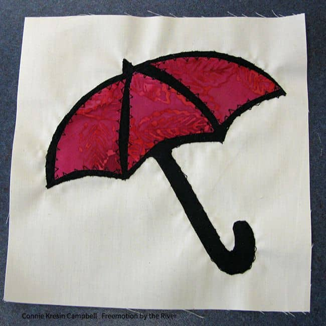 finished applique umbrella block