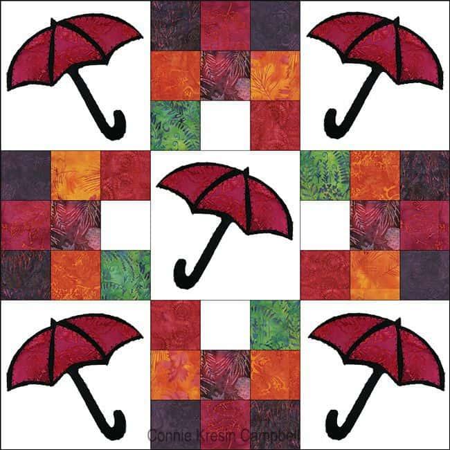 Batik umbrella quilt center part of the quilt