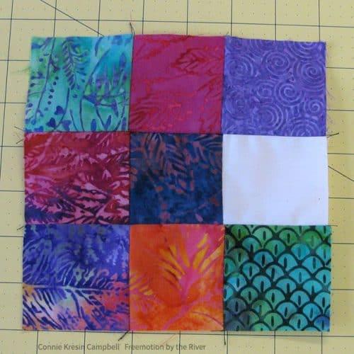 Finished batik umbrella quilt block