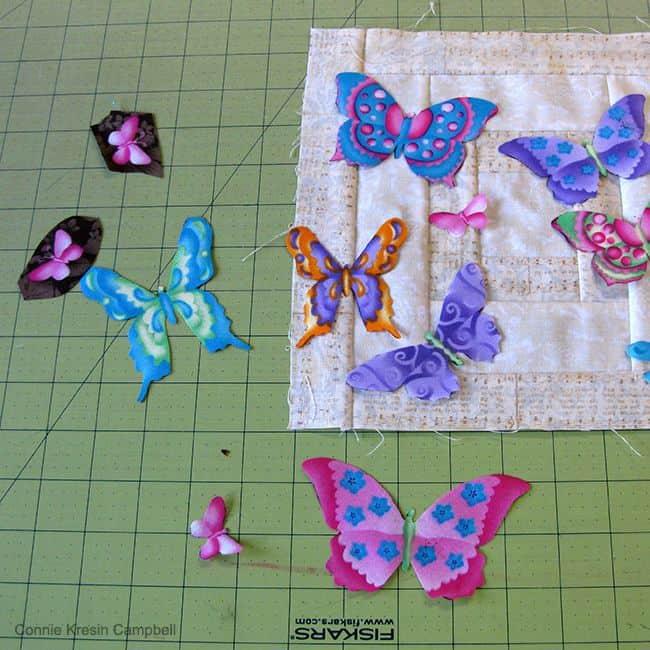 Applique butterflies from fabric