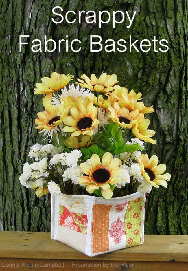 Scrappy Strip fabric basket tutorial