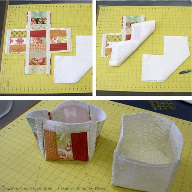Sew the sides together for the fabric basket
