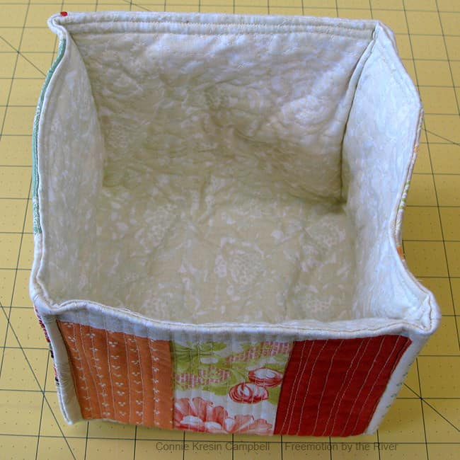 Top stitching the fabric basket